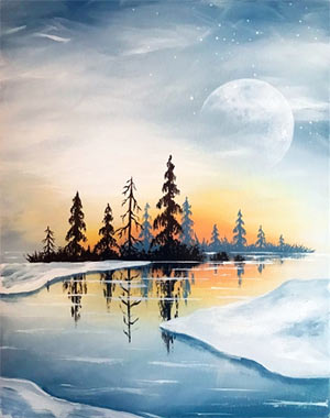 Painting of a night time snowy landscape
