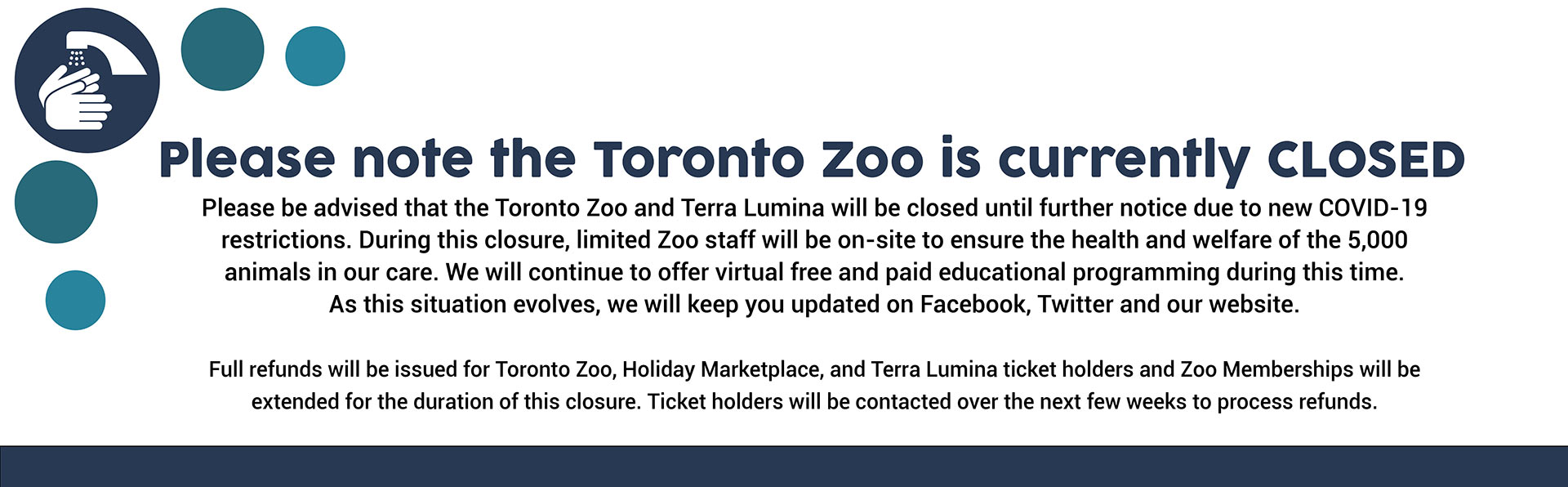 Please note the zoo will be closing, effective Monday, November 23