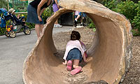 child playing in the sculptured hollow log